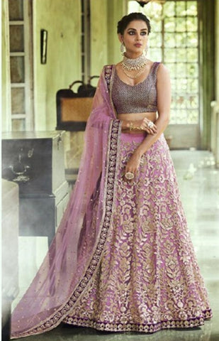 Purple Net Party Wear Lehenga With Purple Dupatta