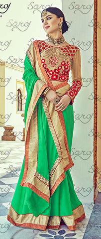 Green,Satin chiffon,Party wear designer embroidery work saree