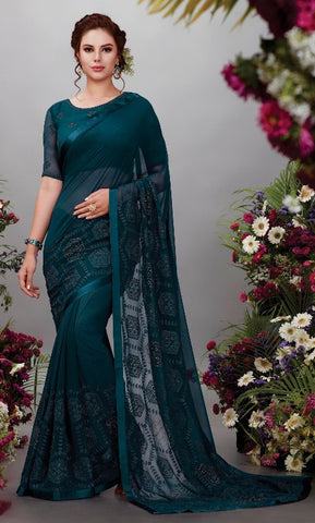 Cyan Georgette Party Wear Saree With Blouse