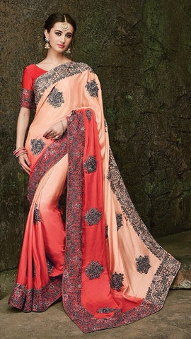 Red , Peach,Silk,Heavy designer party wear saree