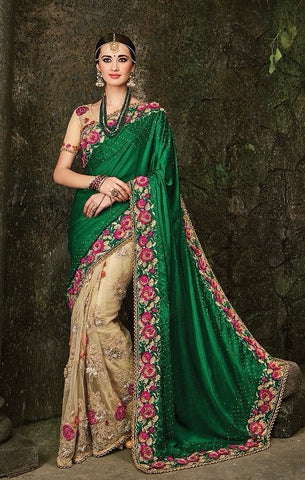 Green , Beige,Satin,Heavy designer party wear saree
