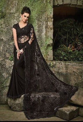 Black,Net,Heavy designer party wear saree