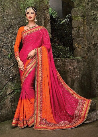 Pink , Orange,Chiffon,Heavy designer party wear saree