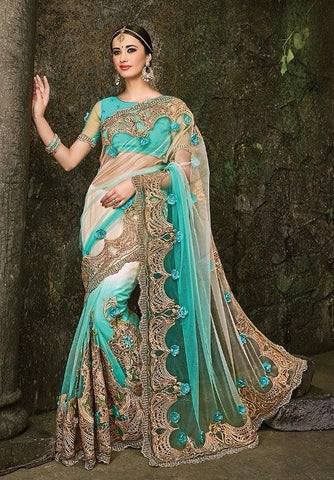 Blue , White,Net,Heavy designer party wear saree