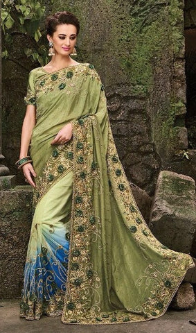 Green , Blue,Satin,Heavy designer party wear saree