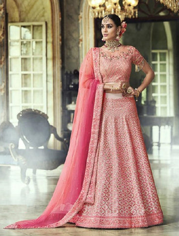 Pink Silk Party Wear Lehenga With Pink Dupatta