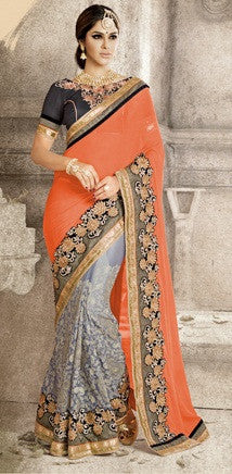 Georgette,Grey & Orange,Party Wear Designer Saree