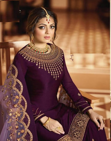 Purple Georgette Partywear Salwar Suit With  Dupatta