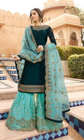 Dark Cyan Georgette Partywear Suit With  Dupatta