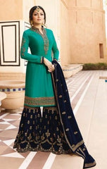 Green Georgette Partywear Suit With  Dupatta