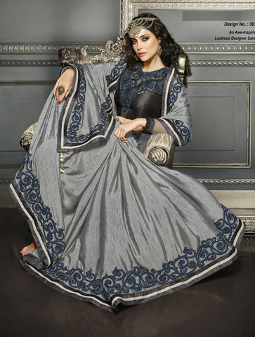 Gray,Art Silk,Party wear designer saree