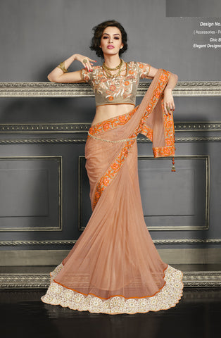 Orange,Net , Art Silk,Party wear designer saree