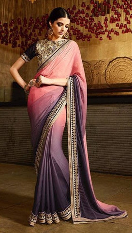 Grey , Peach,Georgette,party wear designer saree