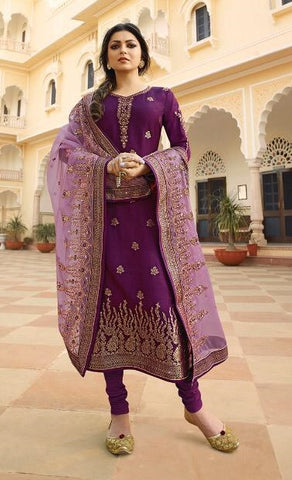 Purple Jacquard Party Wear Salwar Kameez With  Dupatta