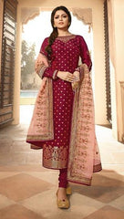 Maroon Jacquard Party Wear Salwar Suit With  Dupatta