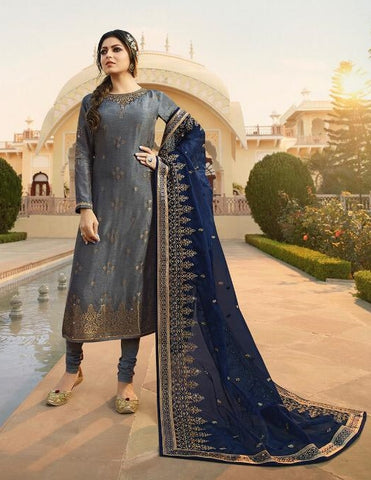 Grey Jacquard Party Wear Salwar Suit With  Dupatta