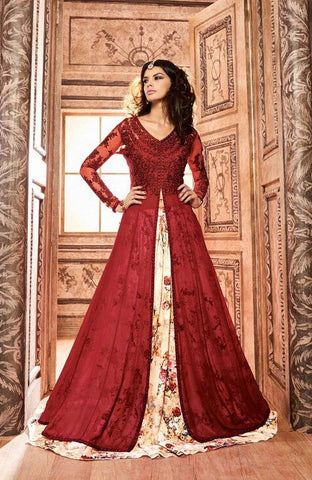 Red & Beige,Silk,Designer party wear anarkali suits