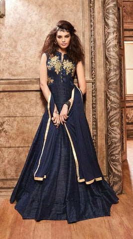 Blue,Silk,Designer party wear anarkali suits