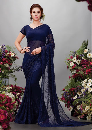 Blue Georgette Party Wear Saree With Blouse
