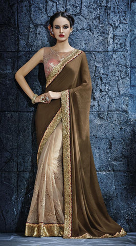 Beige,Satin,Heavy designer saree with heavy embroidery work