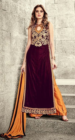 Maroon Velvet Embroidered Plazzo Type Salwar Suit With Orange Dupatta