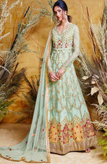 Sea Blue  Heavy Butterfly Net Bridal Wear Anarkali With Sea Blue Dupatta