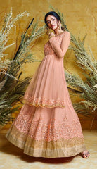 Peach  Heavy Butterfly Net Bridal Wear Anarkali Suit With Peach Dupatta