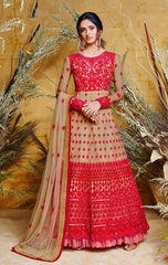 Red  Heavy Butterfly Net Bridal Wear Anarkali Suit With Beige Dupatta