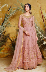 Rose Pink  Heavy Butterfly Net Bridal Wear Anarkali Suit With Rose Pink Dupatta
