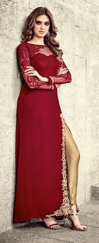 Red Velvet Front Slit Type Gown Abaya Style  Suit With Dupatta