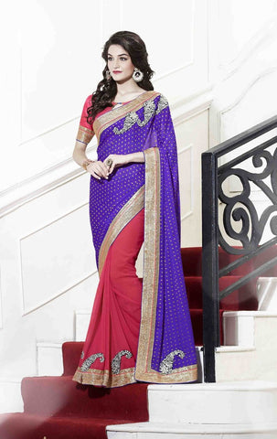 Saree Purple,Georgette