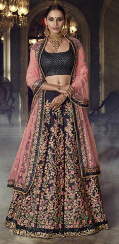 Black Silk Party Wear Lehenga With Pink Dupatta