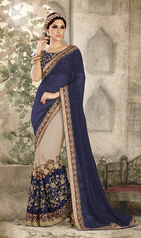 Georgette,Blue & Beige,Party Wear Designer Saree