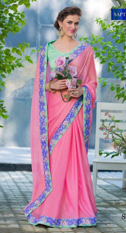 Pink  ,Silky chiffon,Party wear designer saree