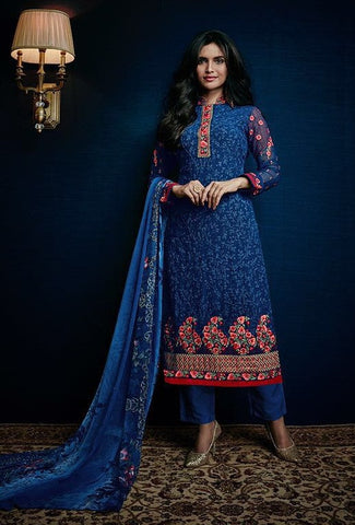 Blue,Georgette,Straight embroidery salwar suits