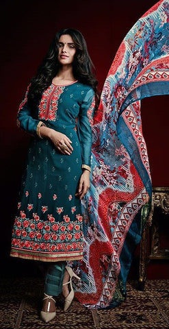 Cyan,Georgette,Straight embroidery salwar suits
