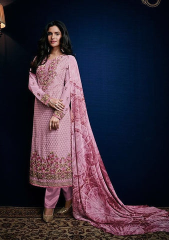 Pink,Georgette,Straight embroidery salwar suits