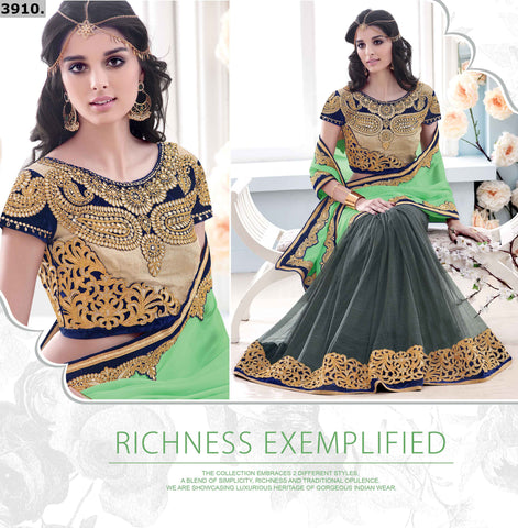 Green,Chiffon,Party wear designer wedding saree