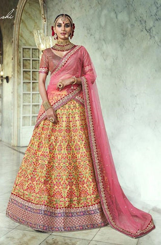 Yellow Silk Party Wear Lehenga With Pink Dupatta