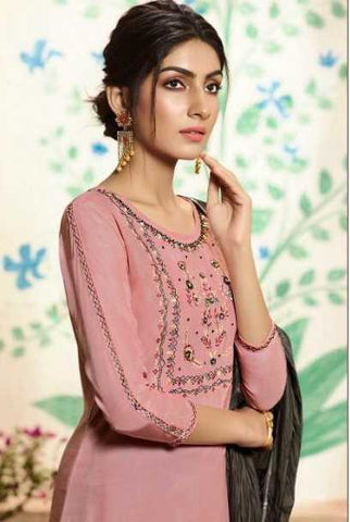 Pink Pure Viscose Party Wear Suit With  Dupatta