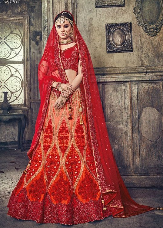 ae1b21d9d1a5f9 Online Buy Satin Red Lehenga On Online Payment – Banglewale ...