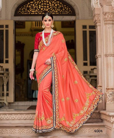 Peach,Pure Moonga Silk,Heavy designer lehenga saree