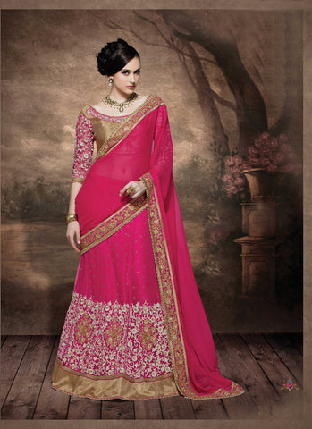 Pink Georgette Lehenga Saree With Pink Blouse