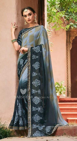 Black Grey Georgette Party Wear  Saree With Blouse