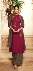 Maroon Pure Viscose Party Wear Salwar Kameez With  Dupatta
