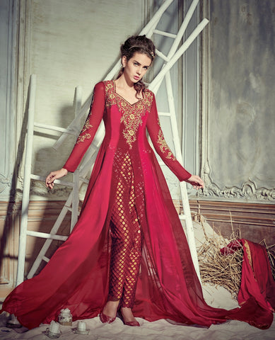Red,Georgette,Heavy designer pary wear suits