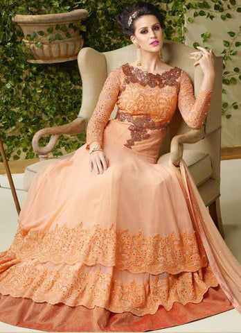 Orange,Georgette,Heavy designer anarkali suits