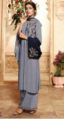 Greyish Blue Pure Viscose Party Wear Salwar Suit With  Dupatta