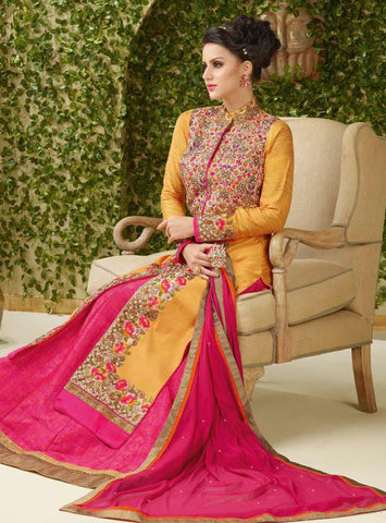 Yellow , Pink,Banarasi Silk ,Heavy designer anarkali suits