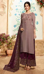 Pastel Maroon Pure Viscose Party Wear Salwar Suit With  Dupatta